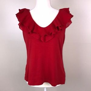 CHAPS Ruffle Blouse V Neck Sleeveless Red Knit